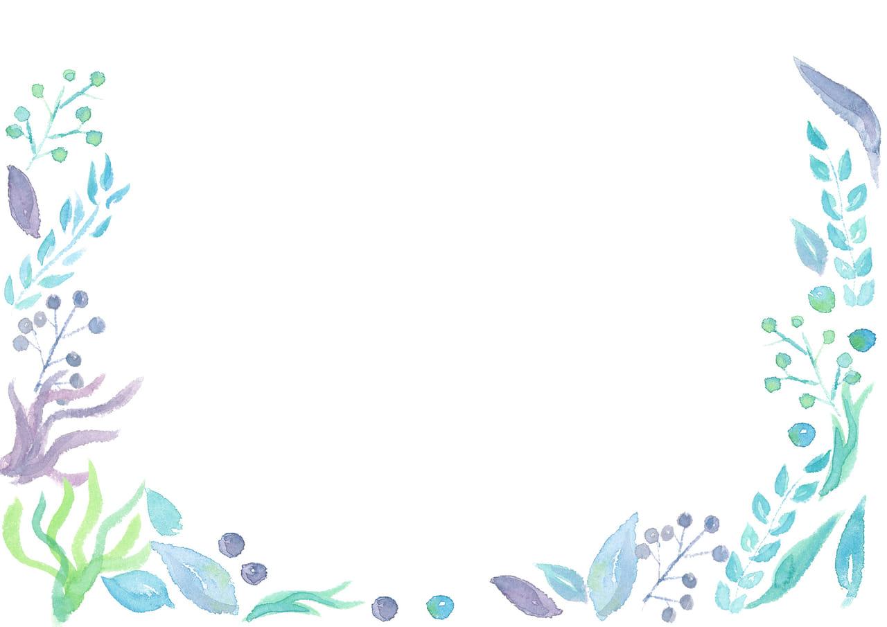 手書きイラスト無料|水彩 葉っぱ 背景 青色