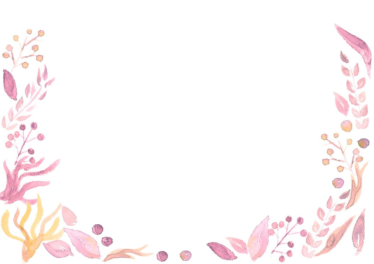 手書きイラスト無料|水彩 葉っぱ 背景 ピンク色