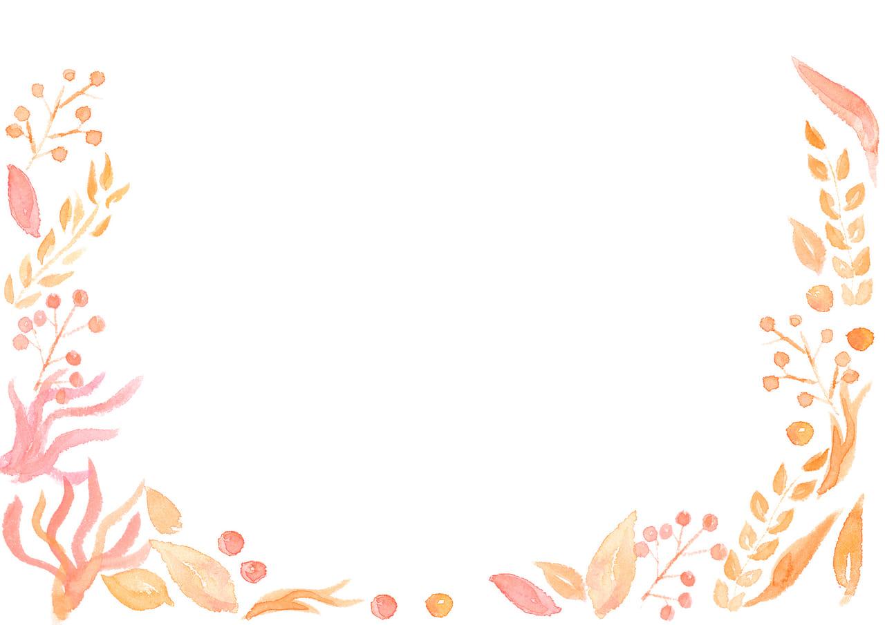 手書きイラスト無料|水彩 葉っぱ 背景 黄色