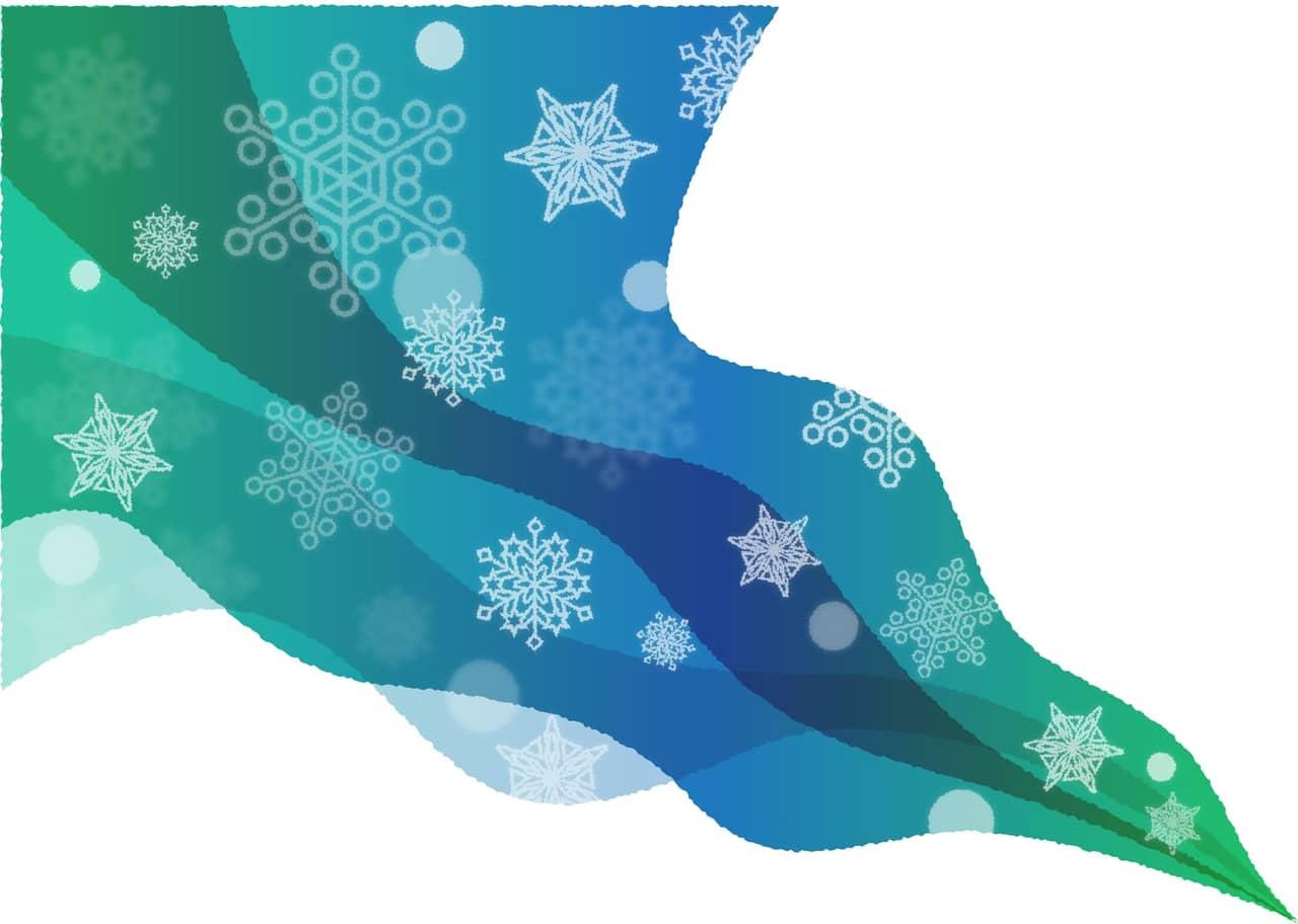 手書きイラスト無料|雪の結晶 風 グラデーション 背景 青色