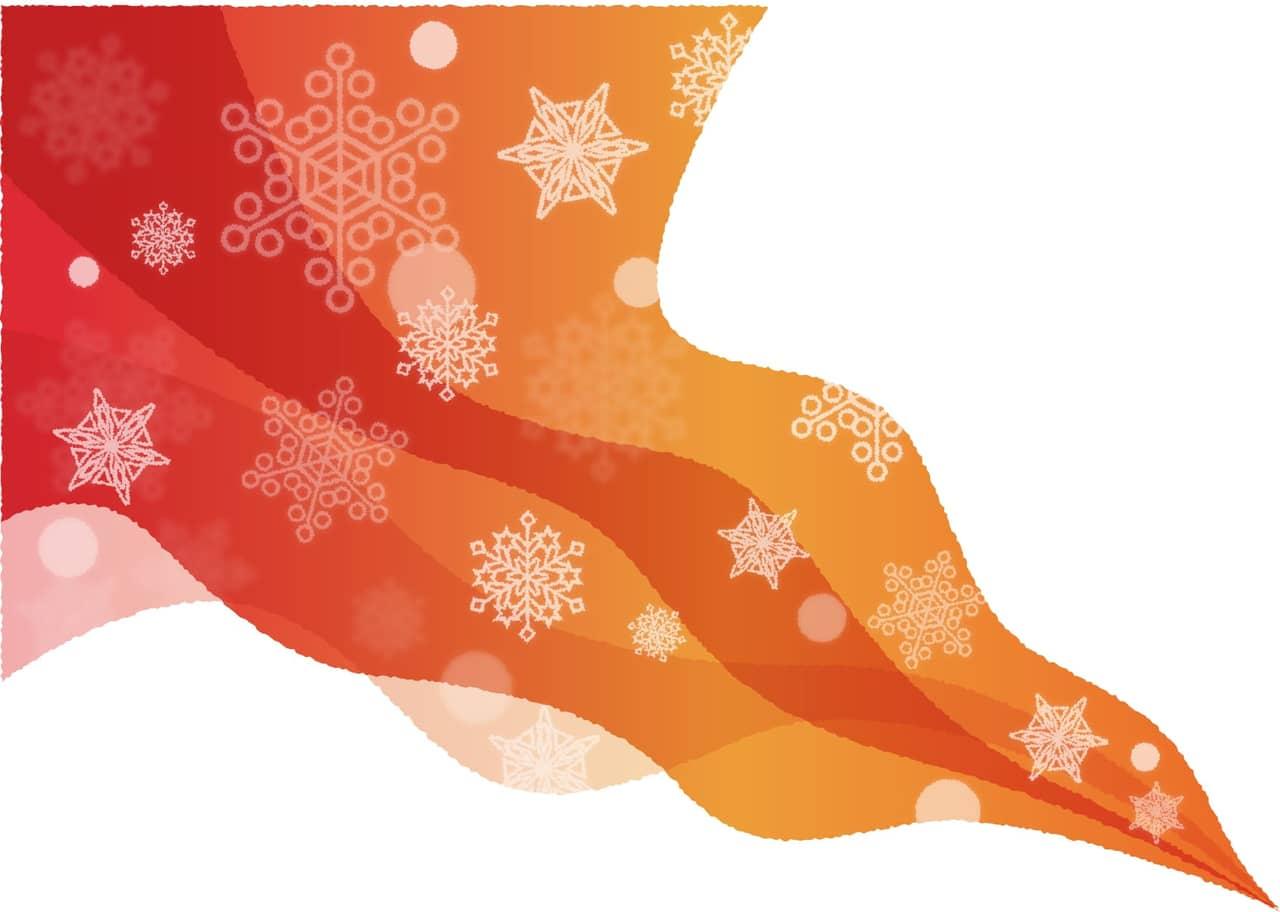 手書きイラスト無料|雪の結晶 風 グラデーション 背景 赤色