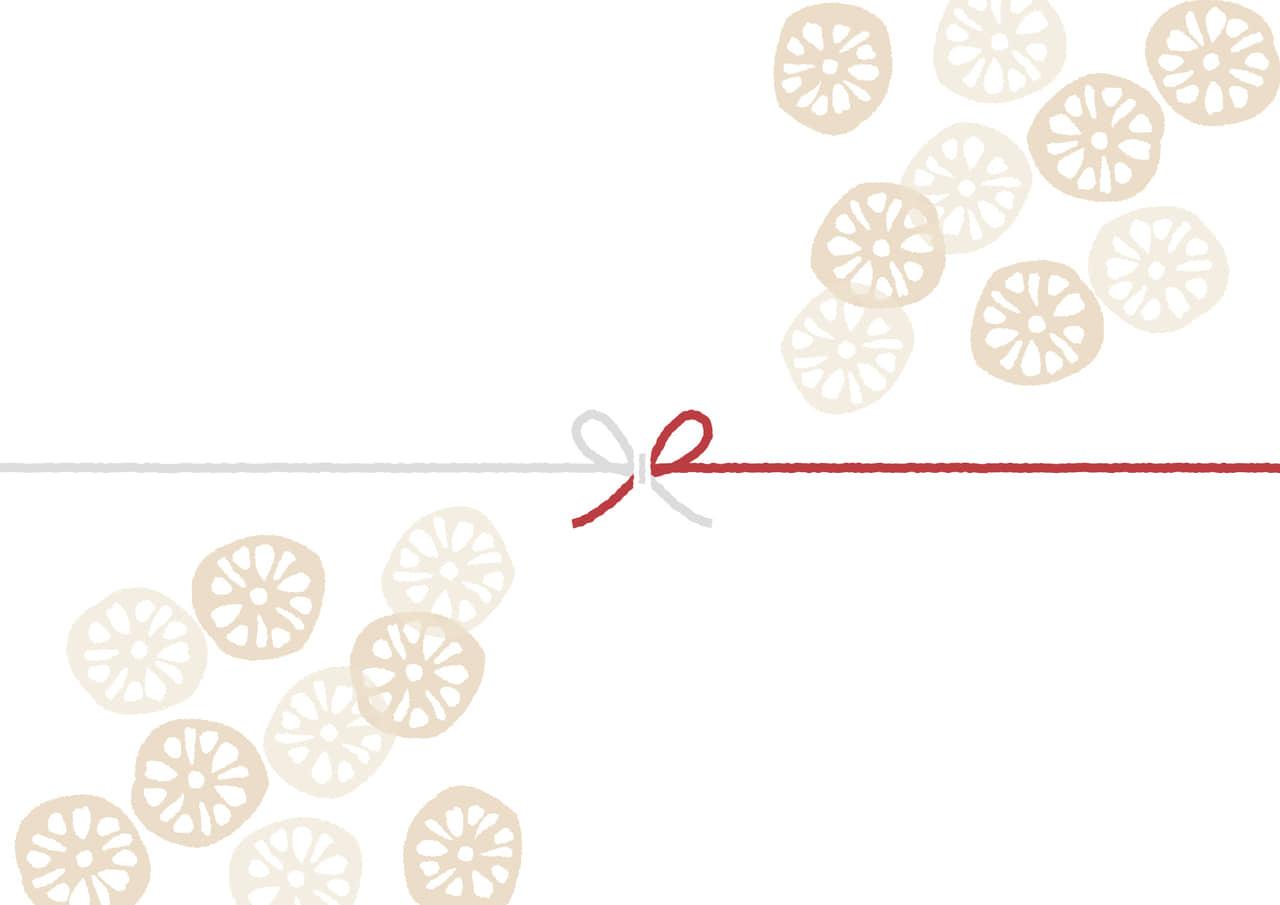 可愛いイラスト無料|のし紙 輪切りのレンコン 慶事