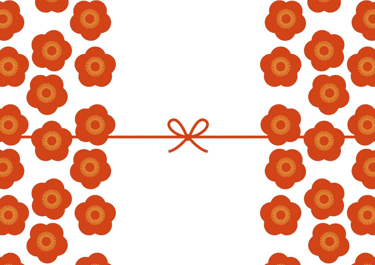可愛いイラスト無料|のし紙 大きな梅の花 カジュアル