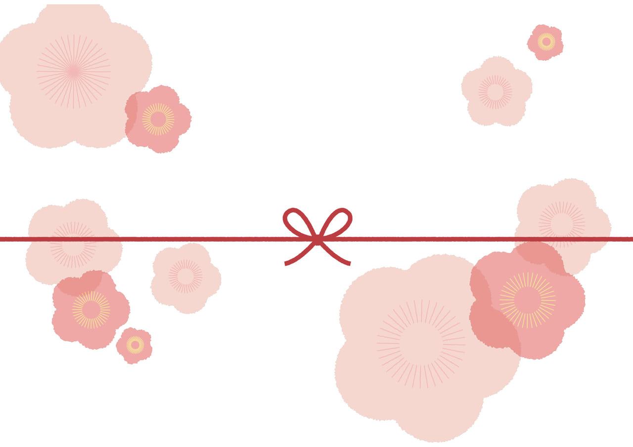 可愛いイラスト無料|のし紙 大きな桃の花 カジュアル
