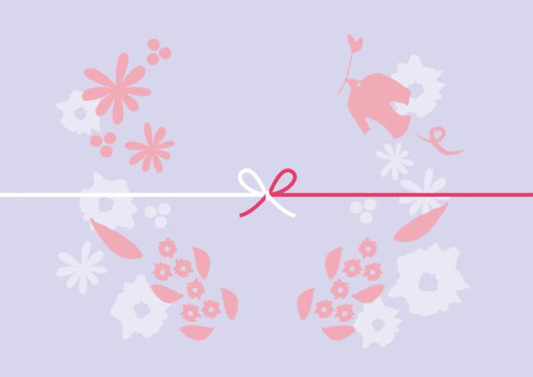 かわいい のし紙 鳥 花 紫色 カジュアル イラスト 無料