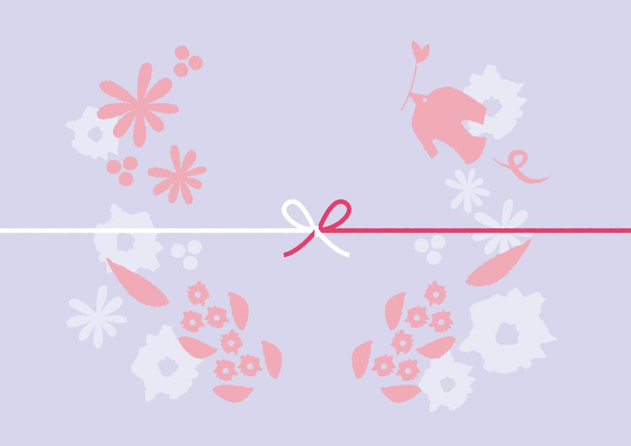 可愛いイラスト無料|のし紙 鳥 花 紫色 カジュアル