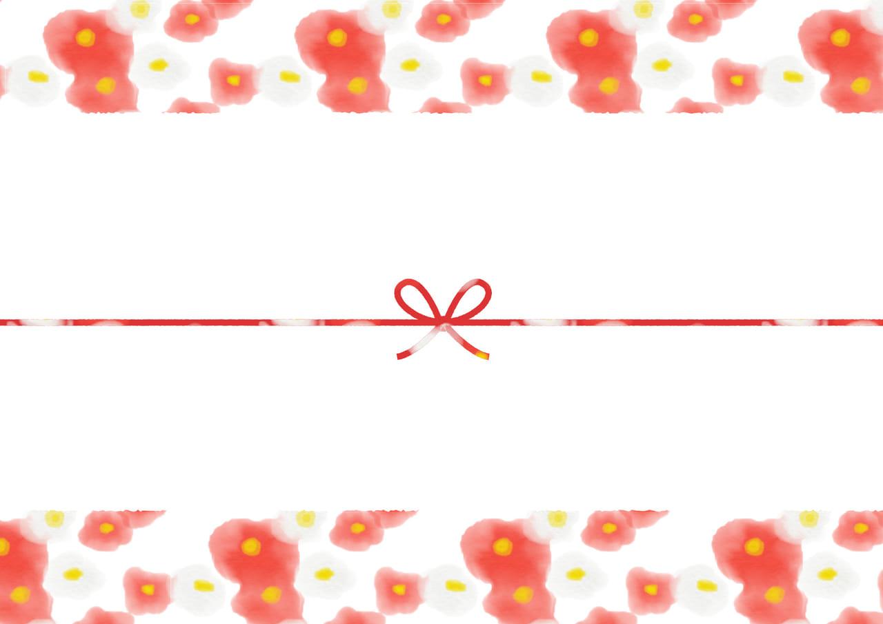 可愛いイラスト無料|のし紙 水彩 椿の花 カジュアル