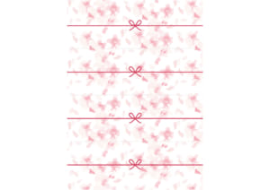 かわいい のし紙 4分割 水彩 桜吹雪 イラスト 無料