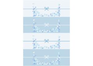 かわいい のし紙 4分割 水彩 ハート 青色 イラスト 無料