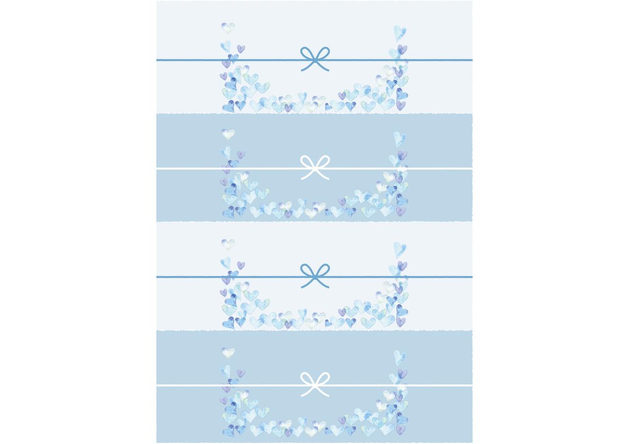 可愛いイラスト無料|のし紙 4分割 水彩 ハート 青色