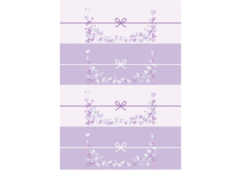 かわいい のし紙 4分割 水彩 ハート 紫色 イラスト 無料