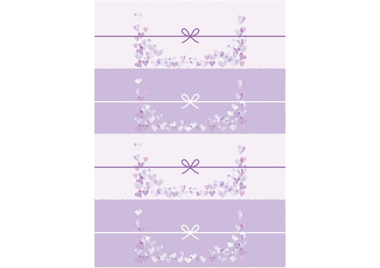 可愛いイラスト無料|のし紙 4分割 水彩 ハート 紫色