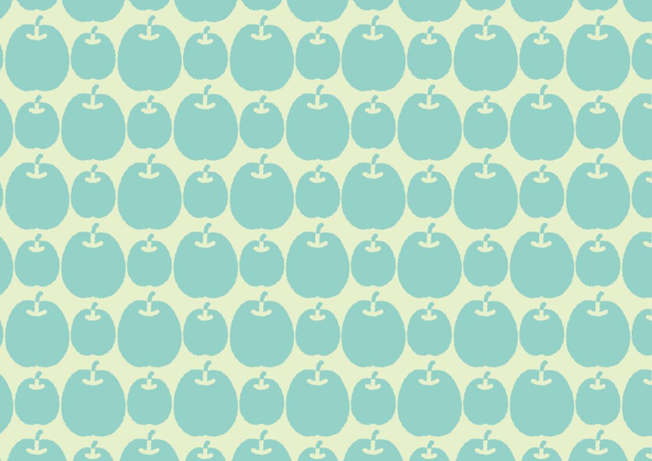 可愛いイラスト無料|背景 青りんご