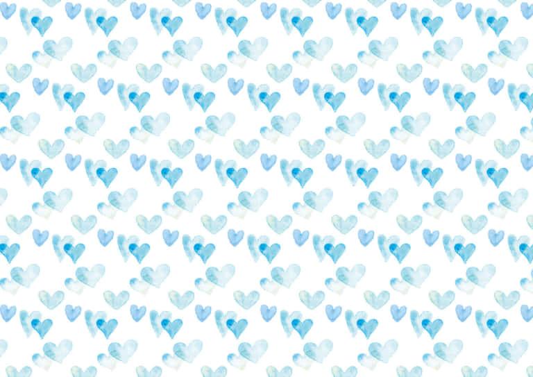 水彩 ハート 背景 パターン 水色 イラスト 無料