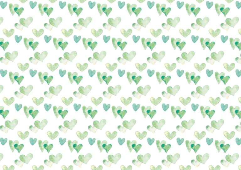 水彩 ハート 背景 パターン 緑色 イラスト 無料