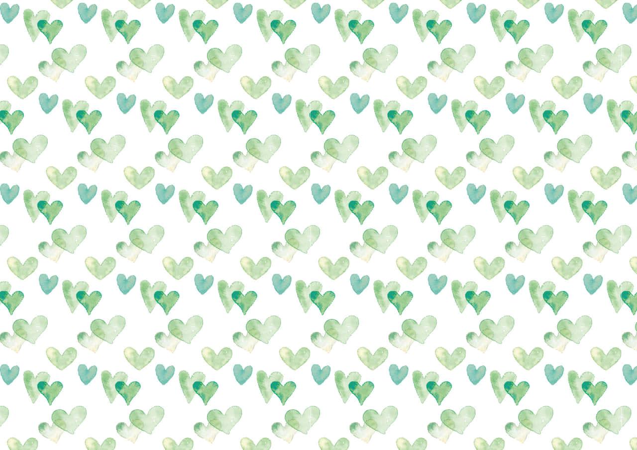 手書きイラスト無料|水彩 ハート 背景 パターン 緑色