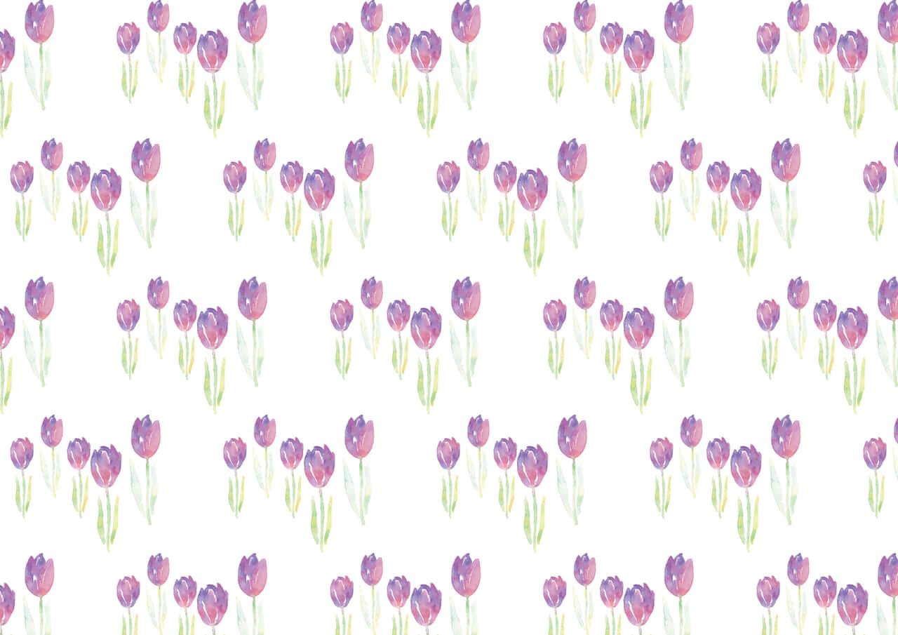 手書きイラスト無料|水彩 チューリップ 背景 パターン 紫色