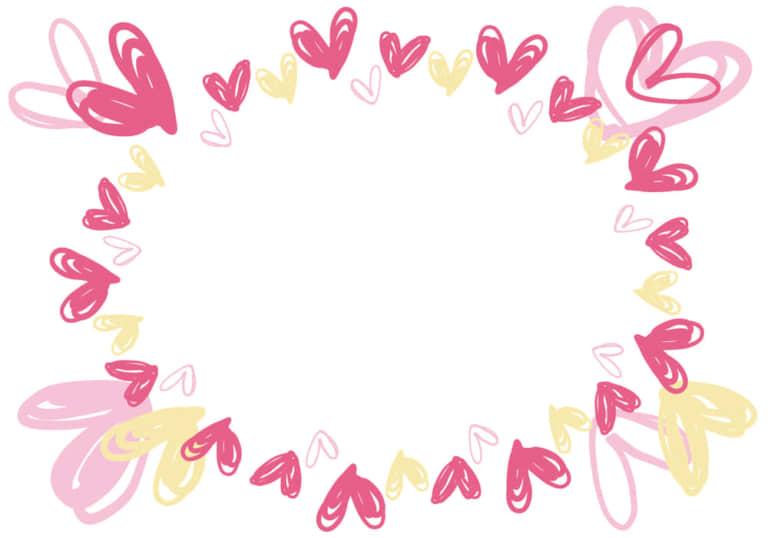 ハート ピンク 手書きフレーム イラスト 無料