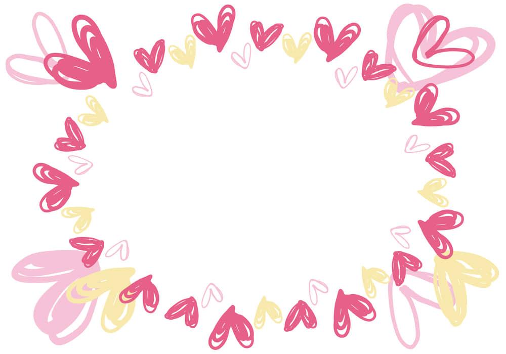 可愛いイラスト無料|ハート ピンク 手書きフレーム