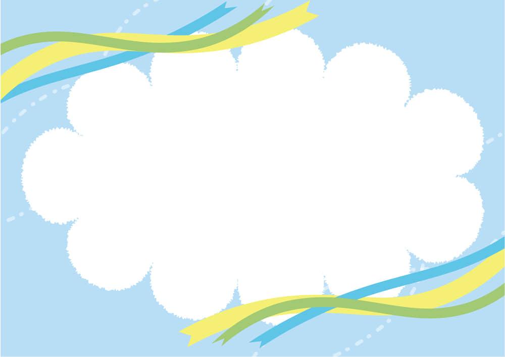 可愛いイラスト無料|雲 フレーム 空 リボン