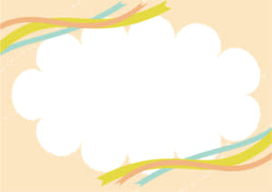 雲 フレーム 空 リボン オレンジ色 イラスト 無料