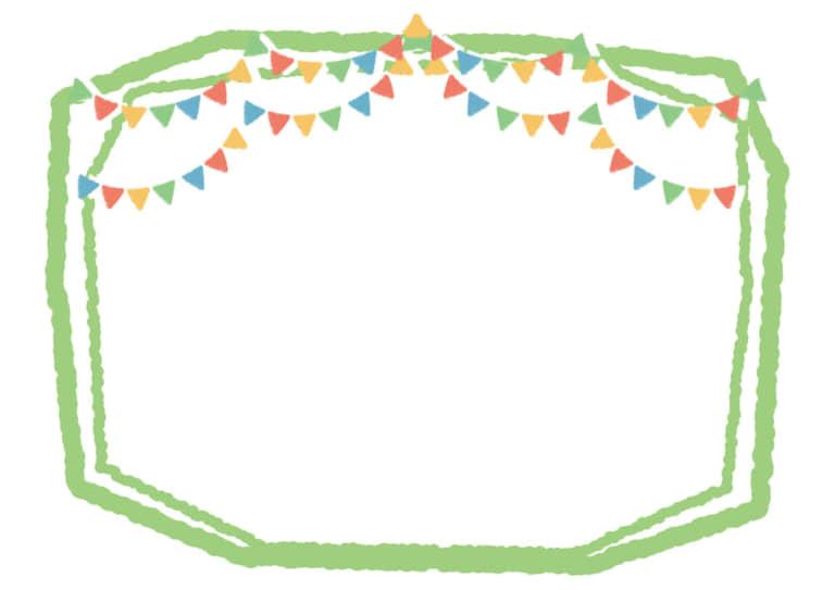 ラフなフラッグ 黄緑線 イラスト 無料