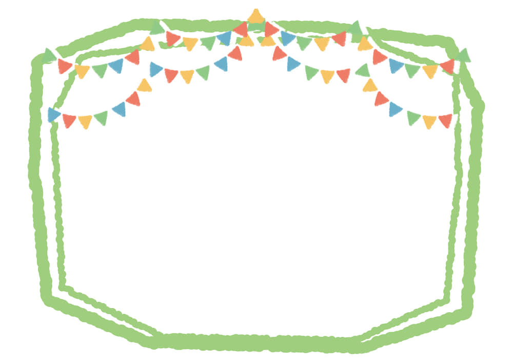 可愛いイラスト無料|ラフなフラッグ 黄緑線