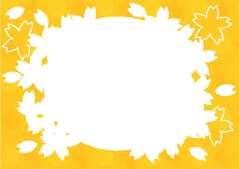 可愛いイラスト無料|桜型 フレーム 黄色