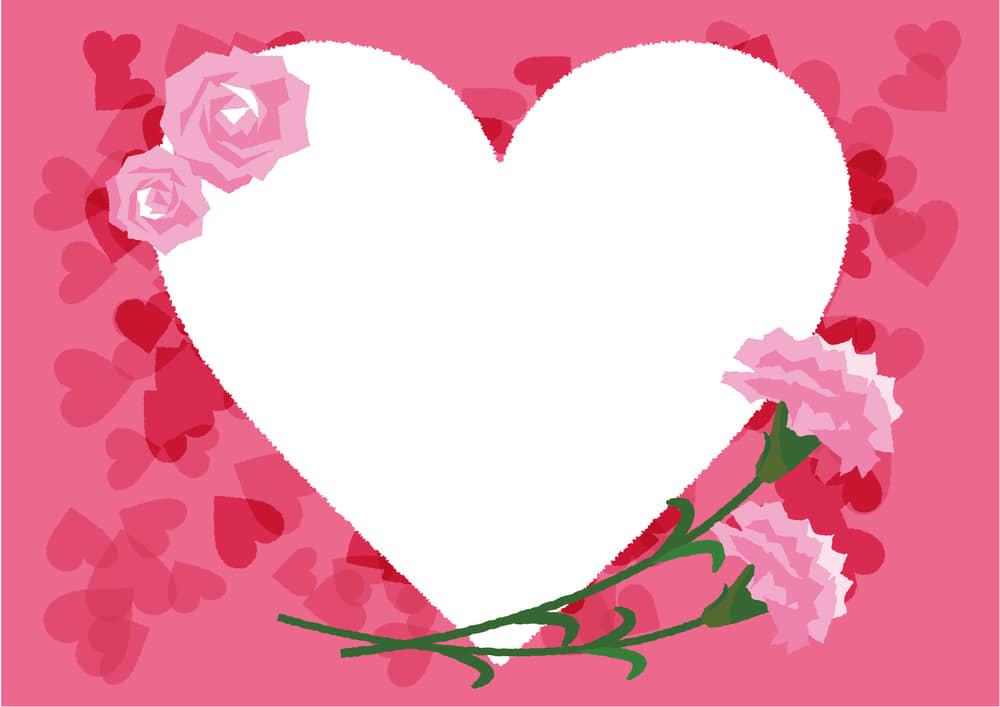 可愛いイラスト無料 カーネーション ハート フレーム ピンク色