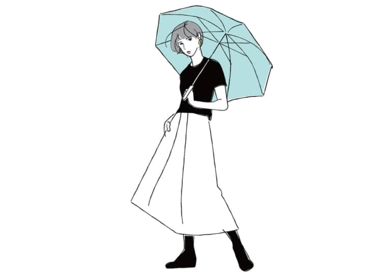 手書き 傘をさす女性 イラスト 無料 無料イラストのイラスト