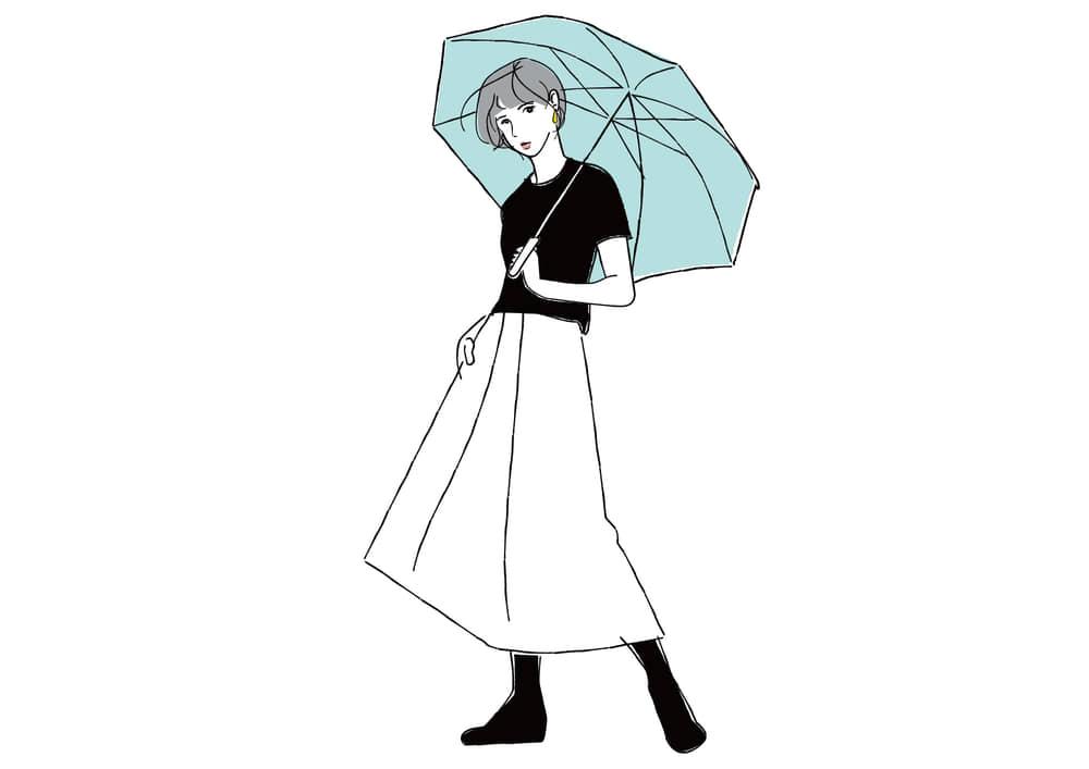 おしゃれなイラスト無料手書き 傘をさす女性イラスト