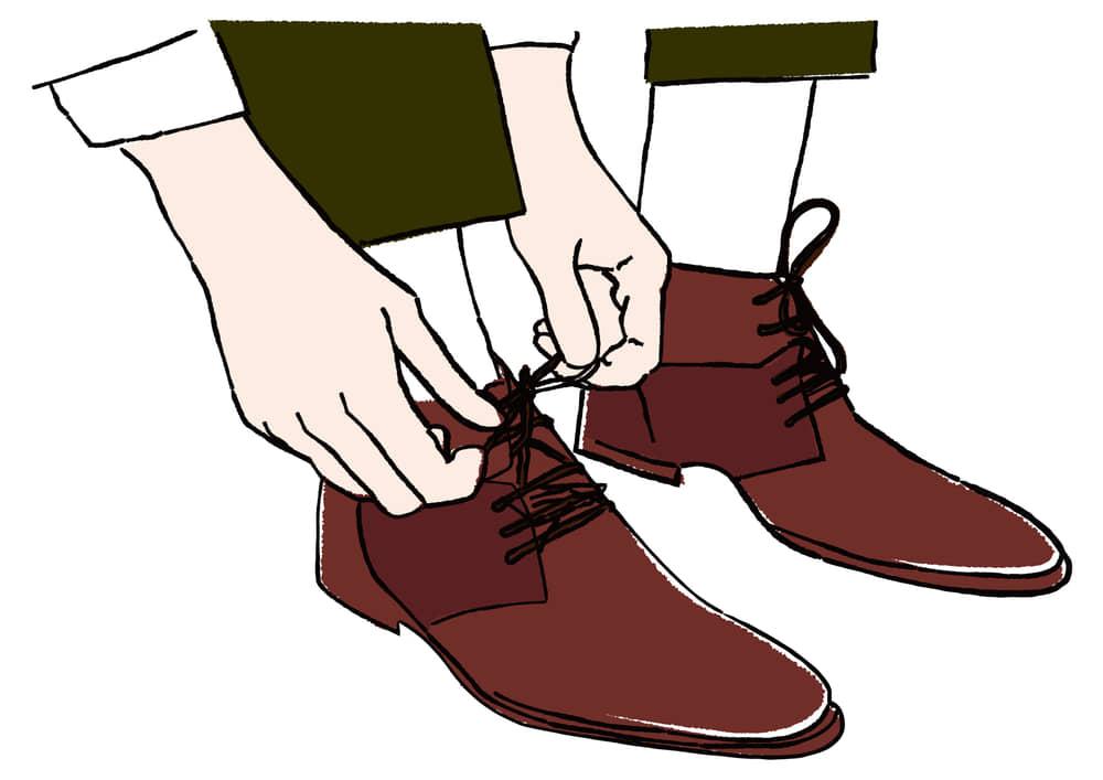 手書きイラスト無料 手書き 靴紐を結ぶ 身支度 お出かけ