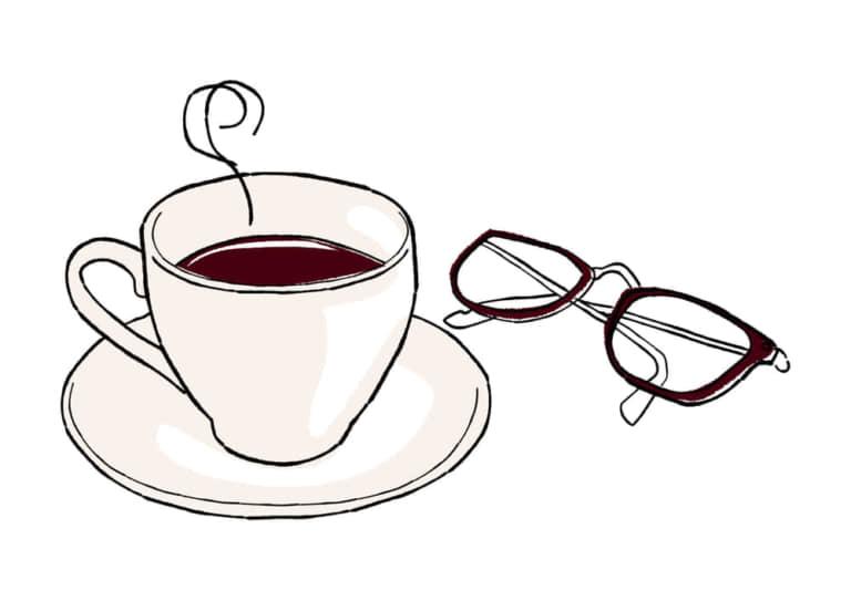 手書き コーヒーとメガネ イラスト 無料 無料イラストのイラスト