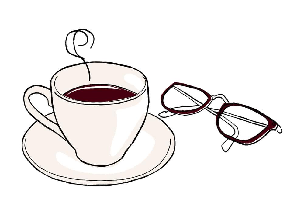 手書きイラスト無料|手書き コーヒーとメガネ