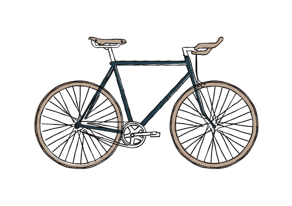 手書きイラスト無料|手書き 自転車