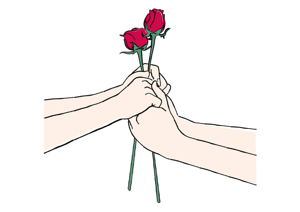 手書きイラスト無料|手書き プロポーズ バラの花
