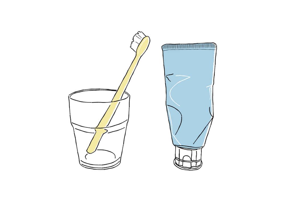 おしゃれなイラスト|手書き 歯ブラシ コップ 歯磨き粉