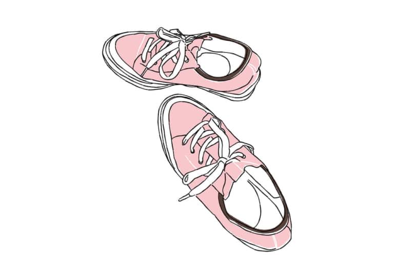 ピンク色のスニーカー イラスト 無料