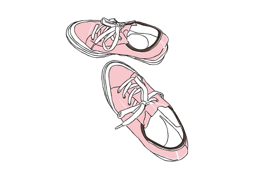おしゃれなイラスト|手書き ピンク色のスニーカー
