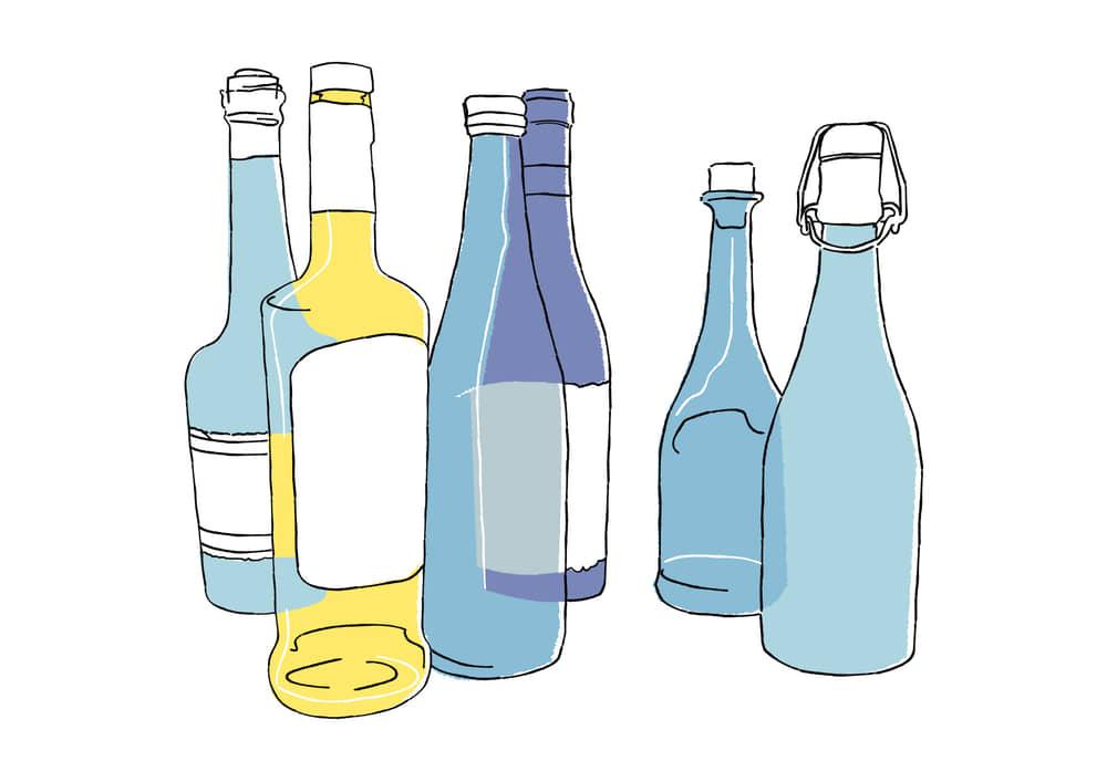 手書きイラスト無料|手書き 複数の酒瓶