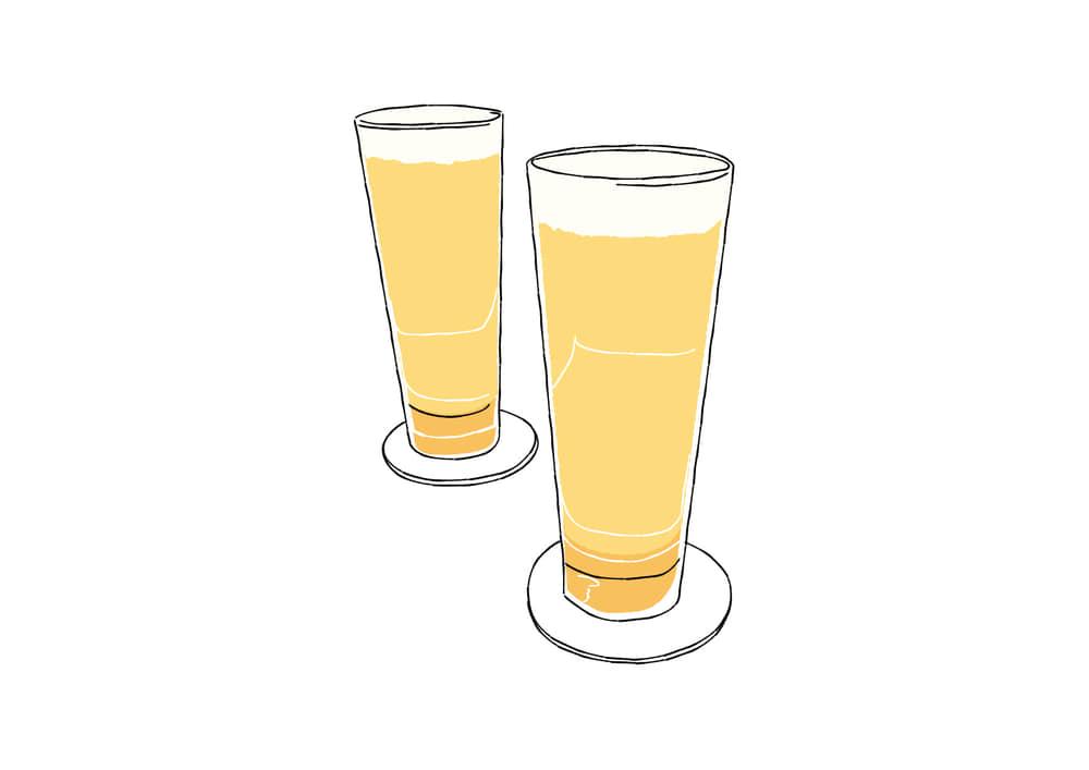 手書きイラスト無料|手書き クラフトビール 2杯