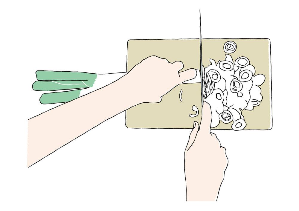 手書きイラスト無料|手書き ネギを切る手元
