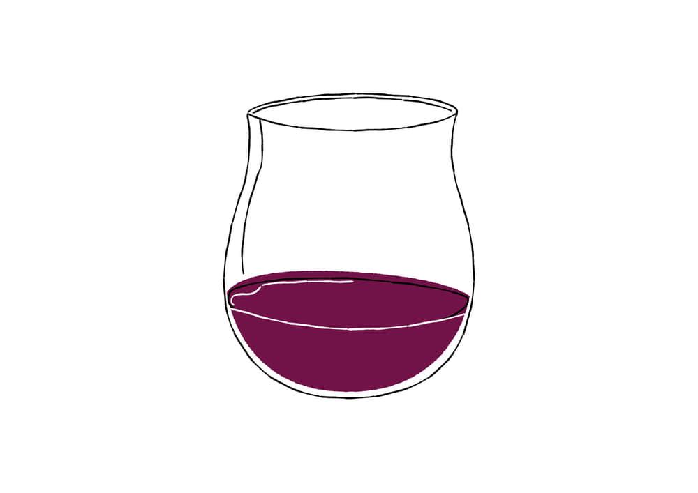 おしゃれなイラスト|手書き 赤ワイン グラス