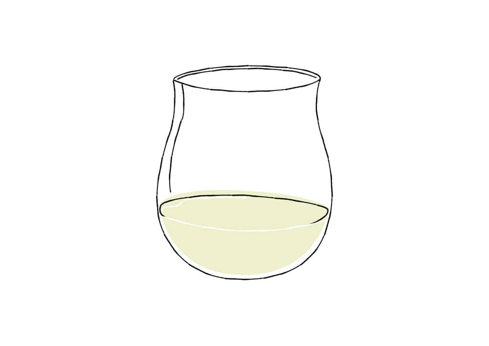 おしゃれなイラスト|手書き 白ワイン グラス