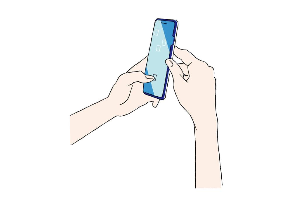 手書きイラスト無料|手書き スマートフォンを持つ手
