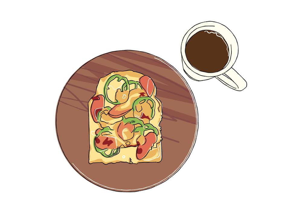 手書きイラスト無料|ピザトーストとコーヒー