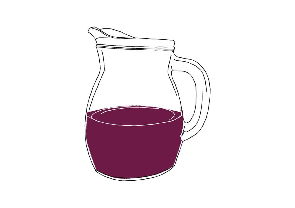 手書きイラスト無料|手書き デキャンタ 赤ワイン