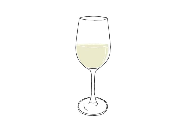 手書き 白ワイン 万能型グラス イラスト 無料