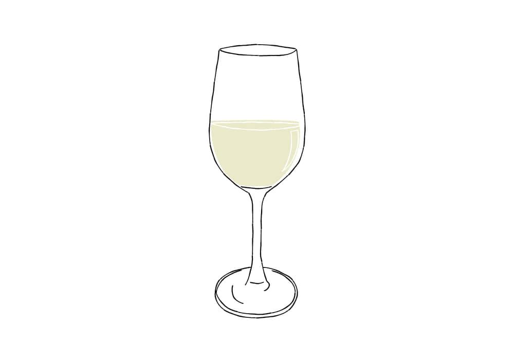 手書きイラスト無料|手書き 白ワイン 万能型グラス