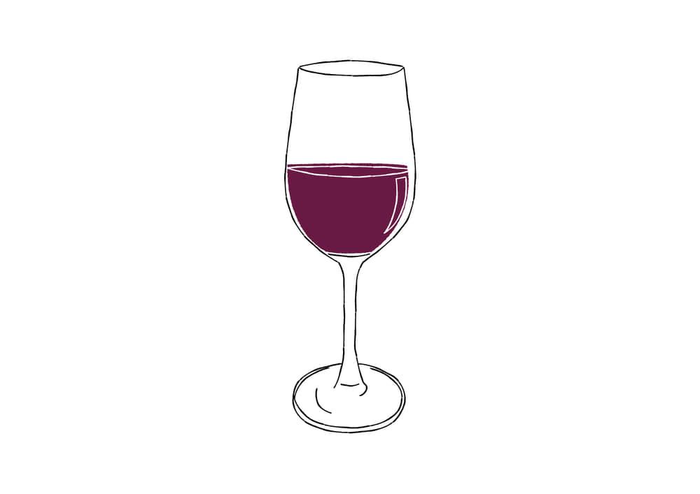 手書きイラスト無料|手書き 赤ワイン 万能型グラス